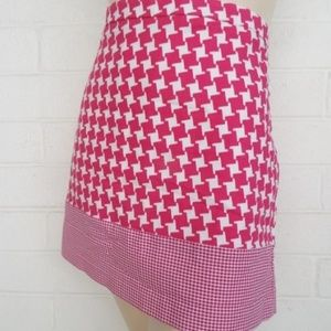 Micheal Kors 12 pink white houndstooth mini skirt